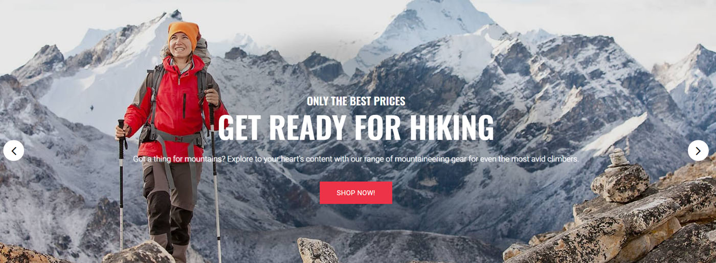 Hiking Website Design for Sport and Trekking Shop