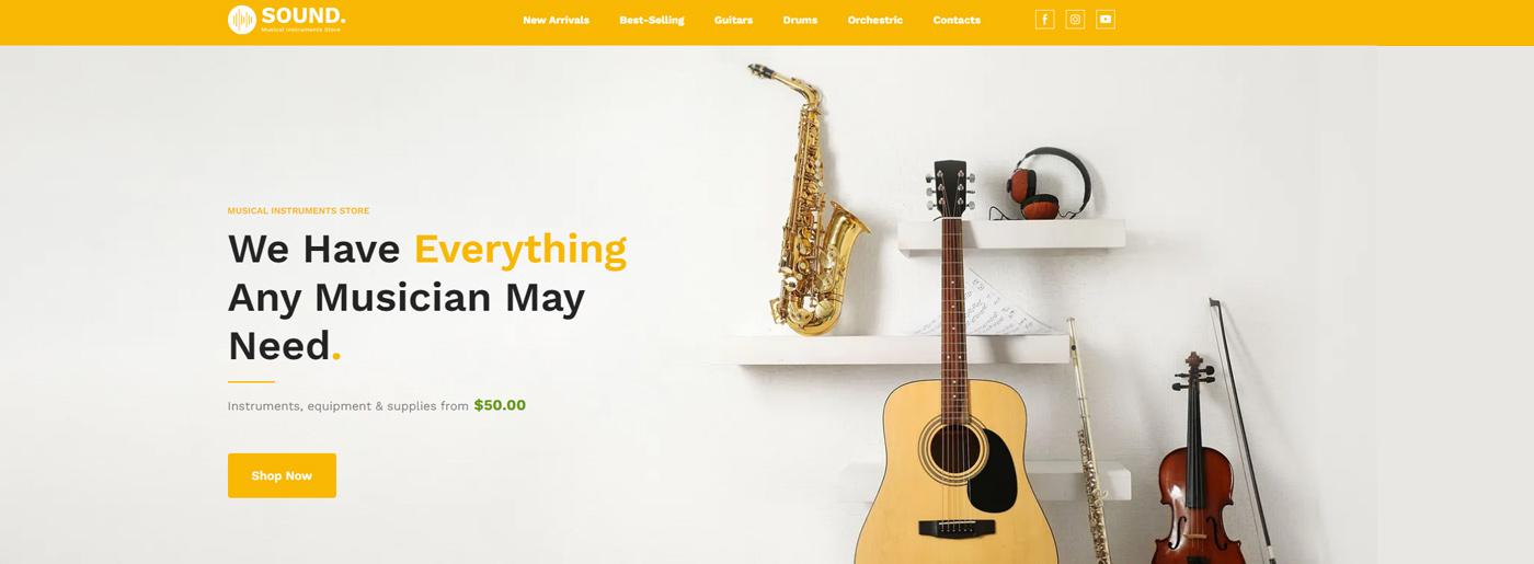 Music Store Website Design - Visual Content vs Text Content
