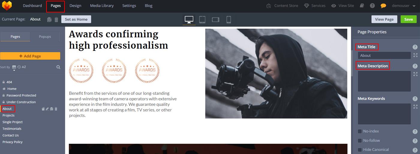 SEO Copywriting for Videographer Website Design