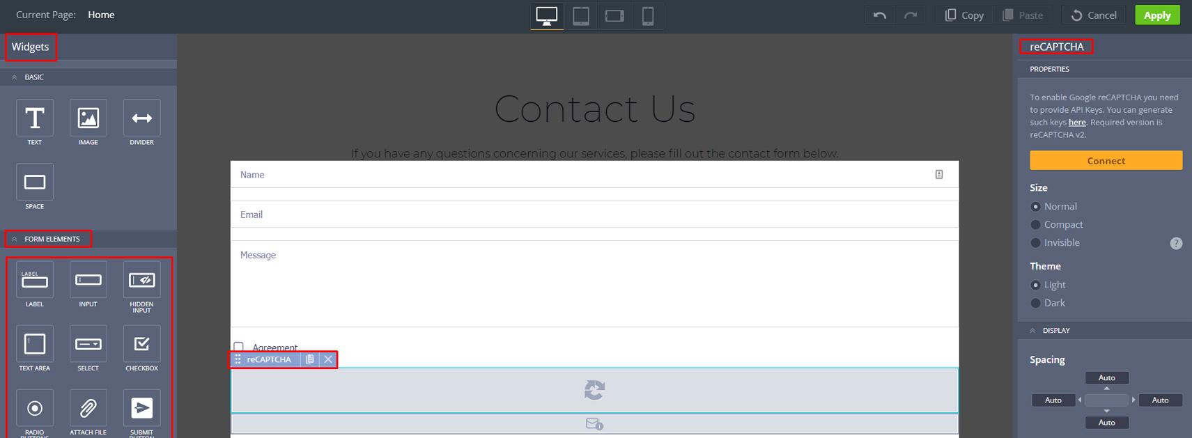 Contact Form Website Builder Plugin