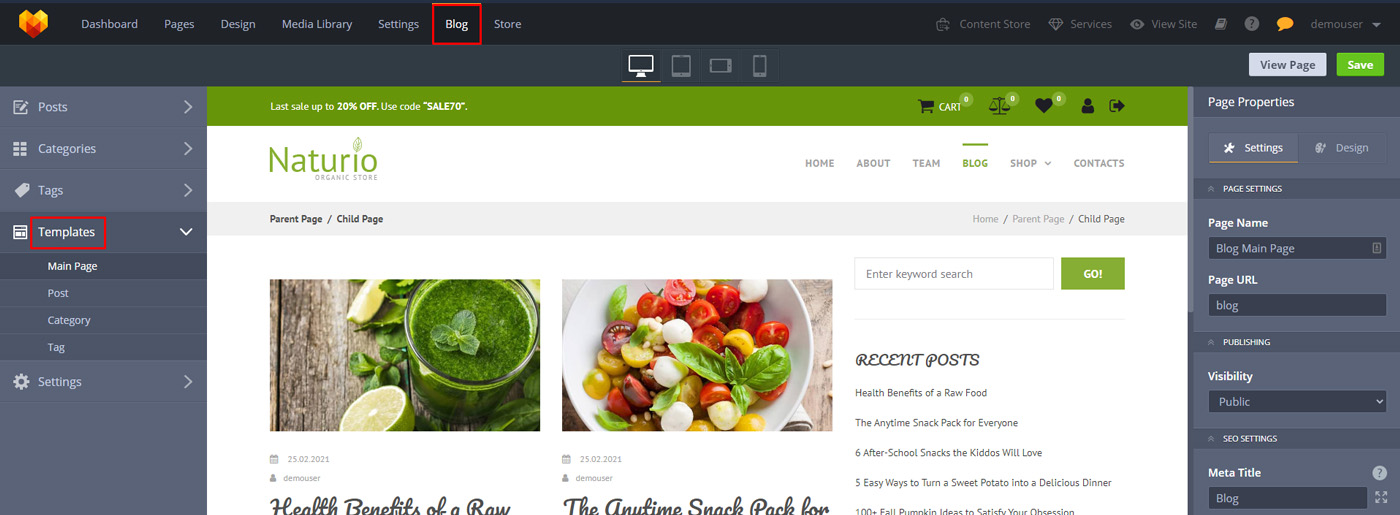 MotoCMS Blog Functionality