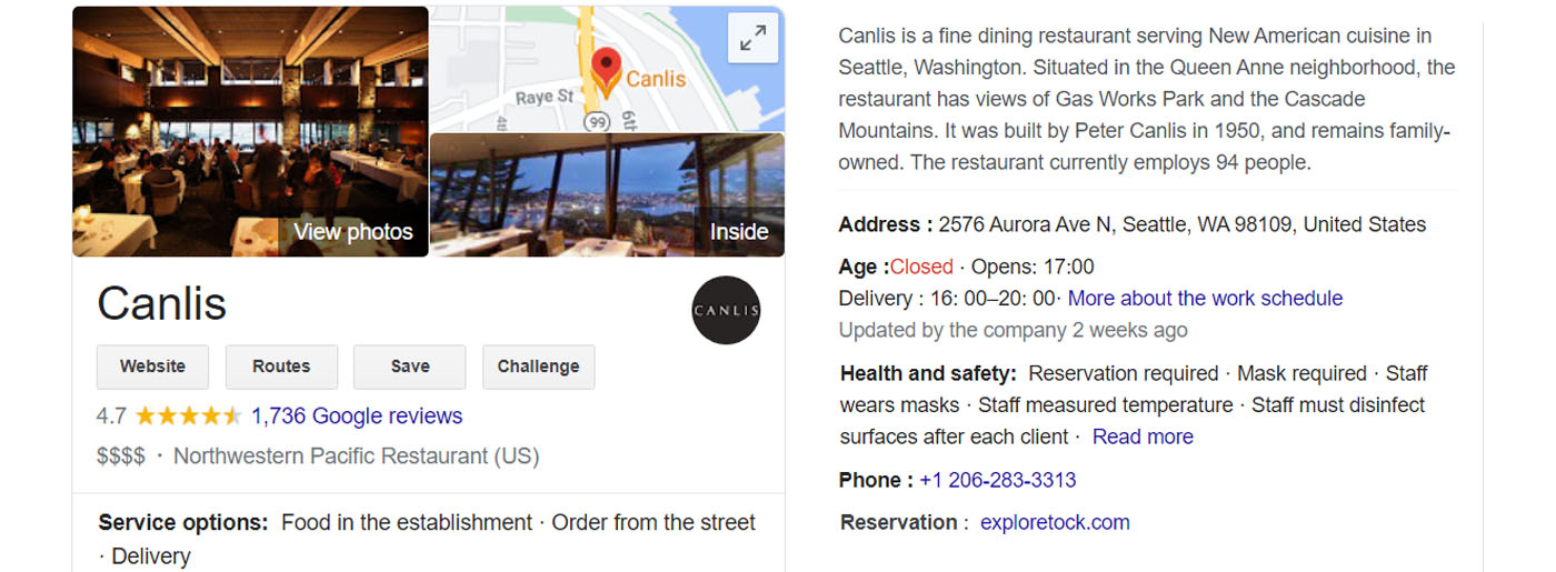 Example of Google My Business Account